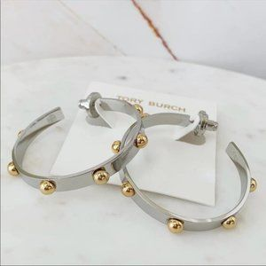 Tory Burch silver hoop earrings
